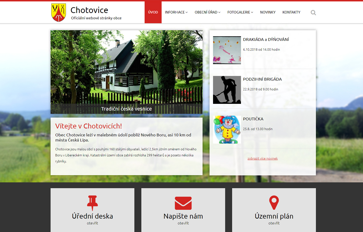 Obec Chotovice - screenshot